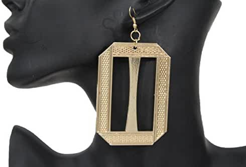 TFJ Women Fashion Hook Earrings Set Big Gold Metal Squares Geometric Urban Dangle