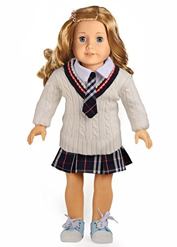 Doll Clothes for 18 Inch American Girl Dolls 3PC White Sweater School Uniform Set