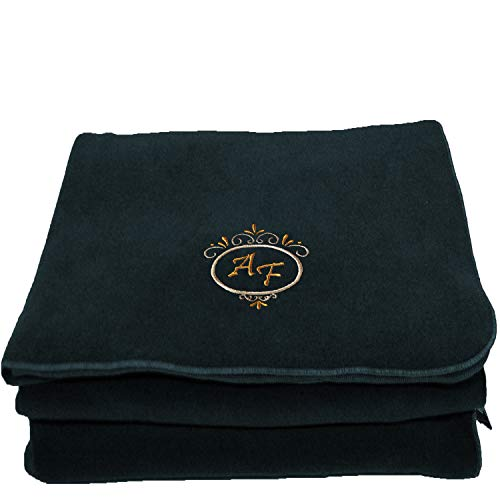 BgEurope Personalized Custom Embroidered Polar Sofa Bed Travel Fleece Blanket - REF. Deluxe - Blue Navy