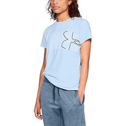 Logo Tee Womens Big (Under Armour Women's Graphic Classic Crew Chest Logo, Halogen Blue (441)/Charcoal, Small)