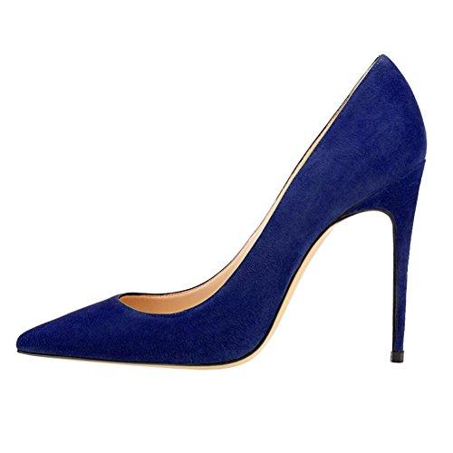 MERUMOTE Womens Gradient Pointed Toe Stiletto High Heel Patent Leather Elegant Dress Party Pumps Suede Blue l43vJ5L