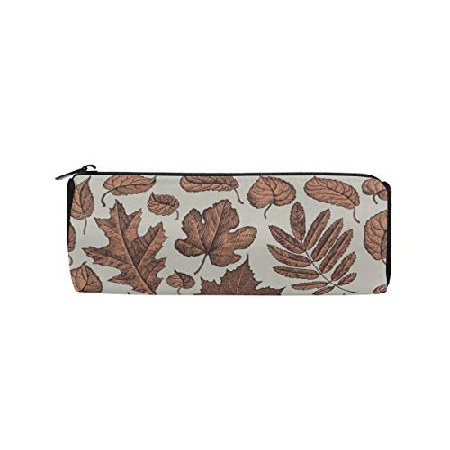 Single Bright Red Dried Maple Leaf Students Super Large Capacity Barrel Pencil Case Pen Bag Cotton Pouch Holder Makeup Cosmetic Bag for Kids ()