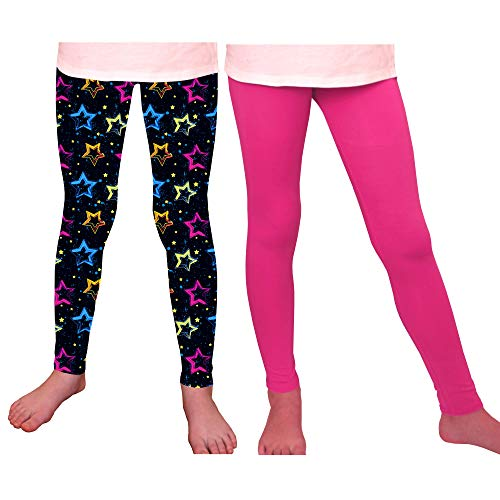 Syleia Girl Leggings High Rise with Star Pattern (Medium, 2 Pairs - with Stars Pattern & Solid Pink)