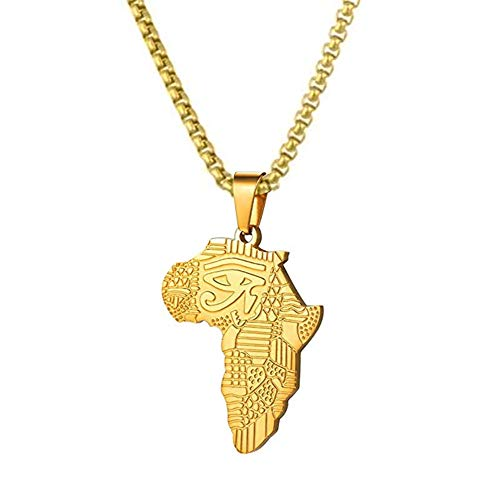 Senteria African Map Pendant Necklace 26inch Long Chain Titanium Stainless Steel 18k Gold Necklace for Men Real Gold Pendant & Chain Hip Hop Jewelry (styel 3)