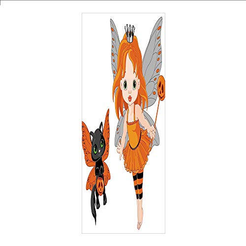 3D Decorative Film Privacy Window Film No Glue,Halloween,Halloween Baby Fairy and Her Cat in Costumes Butterflies Girls Kids Room Decor Decorative,Multicolor,for Home&Office