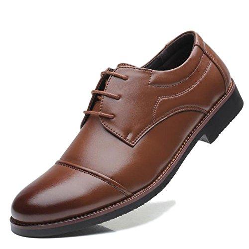 Hommes Business Derby Formelle Casual Lace Up Chaussures Uniforme En Cuir Classique Party Dress Chaussures De Mariage Grande Taille 39-48 Brown