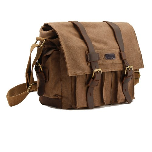 Kattee Men's Canvas Cow Leather DSLR SLR Vintage Camera Shou