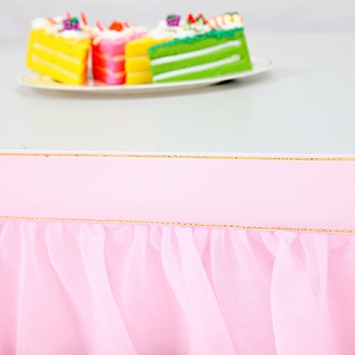 Suppromo 3 Yards High-end Gold Brim 3 Layer Mesh Fluffy Tutu Table Skirt Tulle Tableware Table Cloth For Party,Wedding,Birthday Party&Home Decoration,Table Skirting (L9(ft) H 30in, Pink) by Suppromo (Image #3)