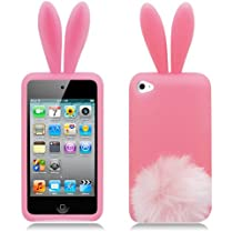 Bunny Skin Case With Furry Tail for Apple iPod Touch 4th Generation, Pink