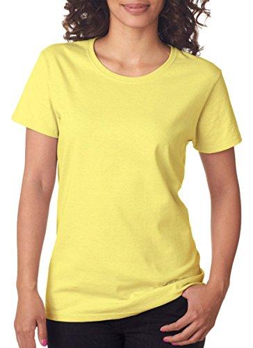 Gildan Women's Heavy Crewneck Cap Sleeve T-Shirt, X-Large, Cornsilk Silk Cotton Crewneck T-shirt