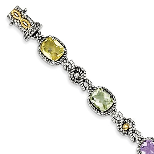 925 Sterling Silver 14k Pink/green/lemon Quartz Bracelet 7.25 Inch Gemstone Fine Jewelry Gifts For Women For Her