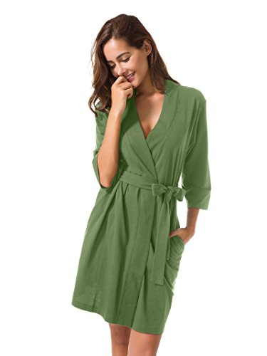 SIORO Robe Plus Size Soft Cotton Robes Knit Terry Bathrobe Lightweight Pajamas Lounger Short for Women Olive Green XL