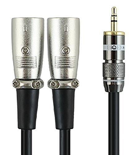 [35wcf-2] Hq 3.5mm (1/8 Inch) TRS to Dual Xlr3 Male Female Stereo Breakout Unbalanced Cable 6.56feet/2meters by Wyvern