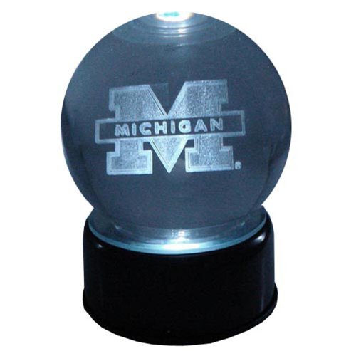 NCAA Michigan Wolverines Michigan U Logo Laser-Etched Musical Lit Crystal ball (Globe Musical Mascot)