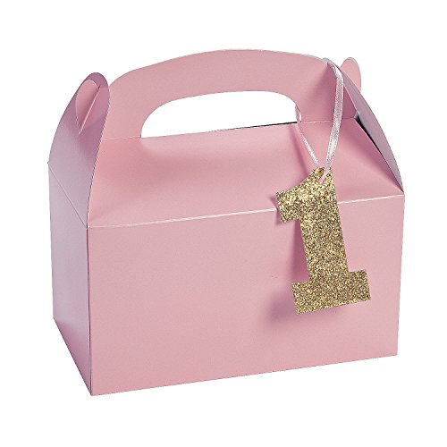 Light Pink 1st Birthday Treat Boxes with Tags (set of 12) Birthday Party Supplies