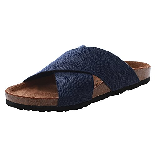 Shoes Sandals VVFamily Comfort Women's Colors 4 Elastic Slide blue Navy Cork xBFttHwqY