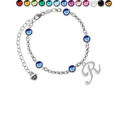 Team Name Script Bracelet - Small Gelato Script Initial - R - Custom Crystal Color Fiona Charm Bracelet