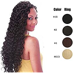 Clip in Hair Extensions Synthetic hair Clip in 140G 7Pcs/Lot Japanese Heat Resistant Fiber Hairpieces Deep Wave/Body Wave/Straight hair (Deep Wave, Chocolate Brown 4#)