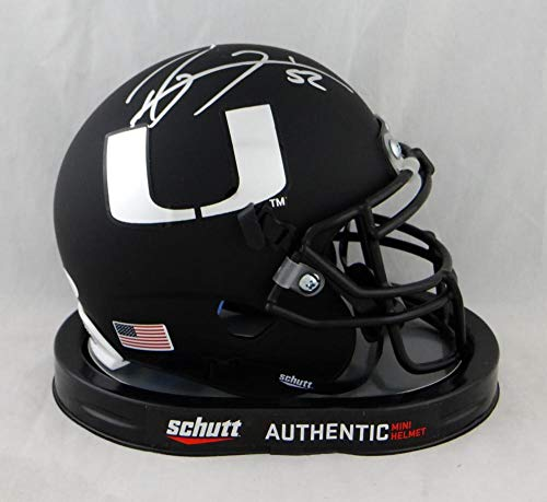 (Ray Lewis Autographed Miami Hurricanes Black Schutt Mini Helmet- JSA Auth Silver)