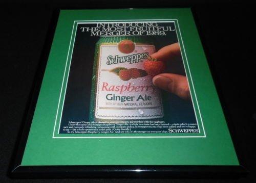 1989-schweppes-raspberry-ginger-ale-11x14-framed-original-vintage-advertisement