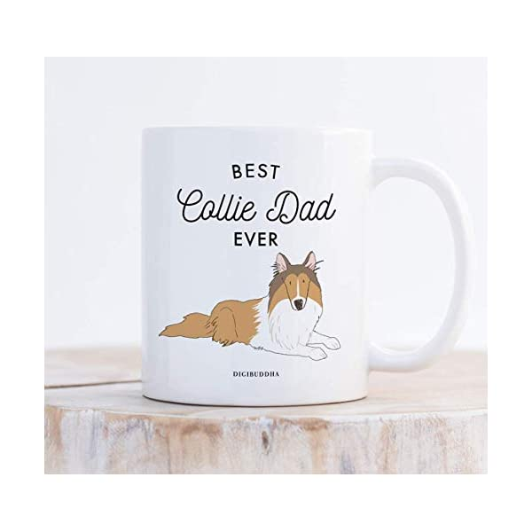 Best Collie Dad Ever Coffee Mug Gift Idea Father Daddy Loves Brown Tan Collie Family Pet Dog Shelter Adoption Animal Rescue 11oz Ceramic Tea Cup Christmas Birthday Present by Digibuddha DM0498 3