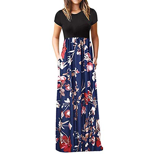 iLUGU Women's Casual Sleeve O-Neck Print Maxi Tank Long Dress ()