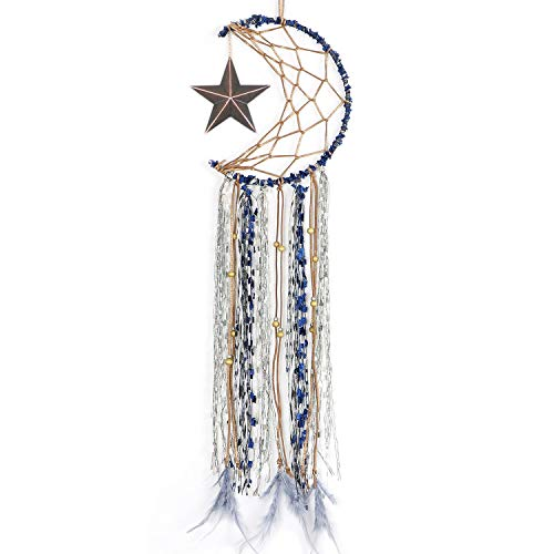 LAVAY Dream Catcher for Kids Bedroom Handmade Star Moon Half Circle Net Blue Dream Catcher Gray Feather Wall Art Hanging Home Decorations Dorm Room Ornament Craft Gift 25