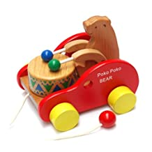 Merry Wooden Cub Bear Beats drum Creative Educational Toy Game Car for kids Children