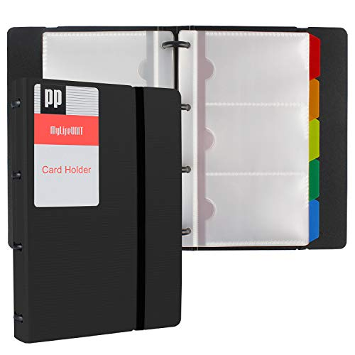 Holder Card Book - MyLifeUNIT Business Card Holder Book, Name Card Organizer Book with Five Color Index Tabs, 120 cards