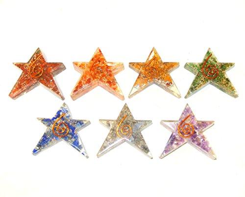 7 Chakra Orgone Flat Star Merkaba Set, Reiki Healing Energy