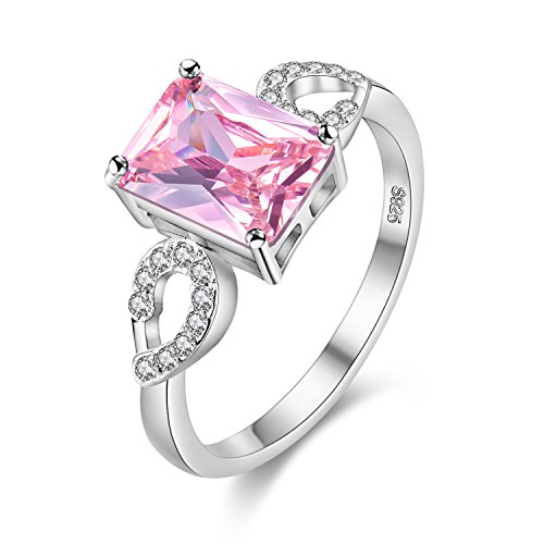 Uloveido Pretty Emerald Cut Lab Created Rectangle Pink Topaz CZ Platinum Plated Brass Infinity Hollow Aniversary Promise Rings for Girls Size 9 Y3040