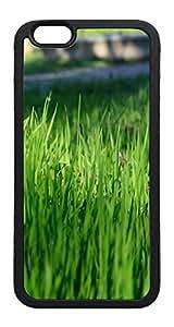 iPhone 6 Plus Case, Nature Green Grassland TPU Rubber Bumper Polycarbonate Hybrid Case Full Protection Case for iPhone 6 Plus 5.5 Black