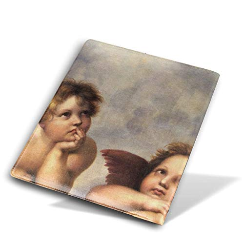 ZzFurel Two Angels Book Cover Protector Fits Most Hardcover Textbooks Up to 9 X - Checkbook Leather Angels Cover