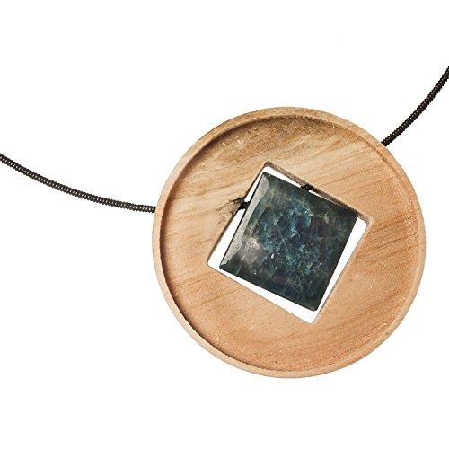 Quadra, collier avec médaillon en bois de pin, Apatite Pierre et pneus Noir. Pour l'objectif strebige