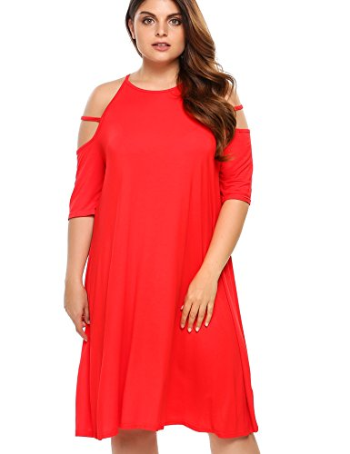 2e5d06460f2 Women s Plus Size Summer Cold Shoulder Tunic Top Swing T-Shirt Loose Dress  - Buy Online in Oman.