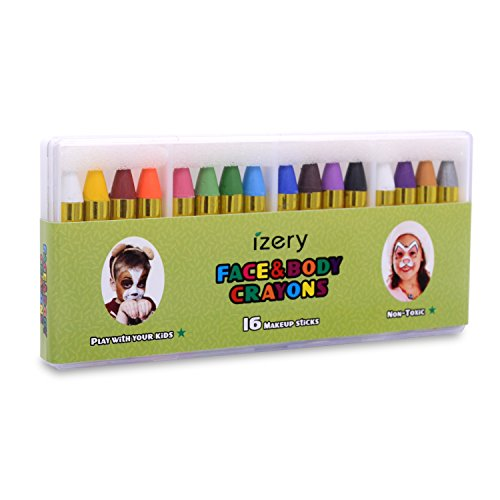 - izery Face Paint and Makeup Crayons, Kids Washable Coloring Markers. 16 Colors Safe & Non-Toxic Facepainting Sticks, Washable Face Paint Crayon Kit for Parties, Festivals, Christmas Children Gift