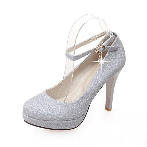 Balamasa Donna Con Paillettes Tempestate Di Strass Metallici Fibbie Alla Caviglia Polsini Con Paillettes Pompe-scarpe Argento