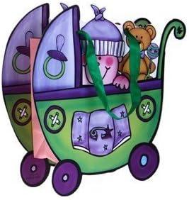 Lote de 12 Bolsas de Papel de Regalo & Presentación Cochecito Bebé VERDE - Bolsas para presentar regalos, detalles y recuerdos Baby Shower, Bautizos, Fiestas Cumpleaños 1 año, Bebés