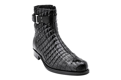 - Belvedere Mens Libero Genuine Alligator and Soft Quilted Leather Boots, Black, 10.5 Medium (819)