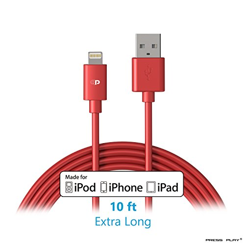 Lightning to USB Cable, 10ft/3m for iPhone, iPad, and iPod