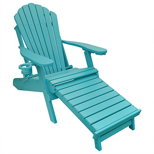 ECCB Outdoor Outer Banks Deluxe Oversized Poly Lumber Folding Adirondack Chair with Integrated Footrest (Aruba Blue) … (Recycled Lumber Folding Poly Chair)