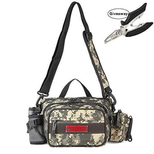 NOEBY Fishing Bag + Portable Fishing Plier Outdoor Fishing Tackle Bag Multiple Waist Bag Fanny Pack Waterproof Fanny Pack (Pocket-Digital Camouflage)
