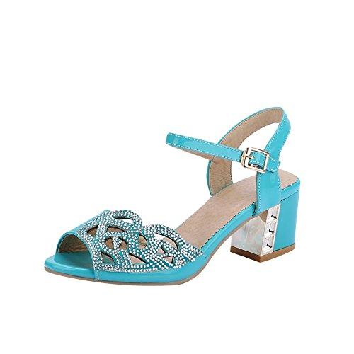 Carolbar Mujeres Hebilla Rhinestones Peep Toe Cute Sweet Dress Chunky Sandalias De Tacón Alto Azul