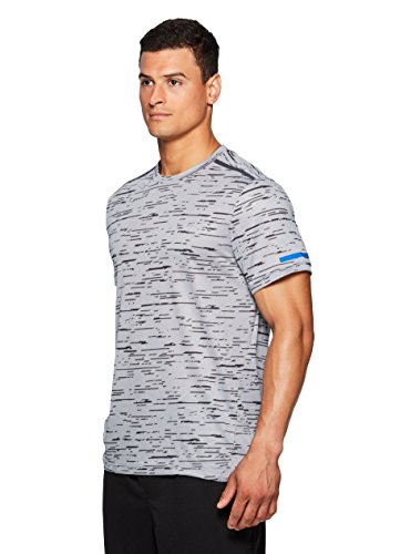 RBX Active Men's Printed Squiggle Stripe S/S Crew Neck Tee Silver L (Shirt L/s Spec)
