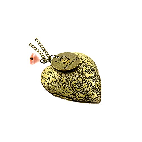 Ms.Iconic Vintage Style Antiqued Bronze Love and Beloved Tag Flower Heart Photo Locket Pendant Necklace Long 27""