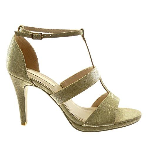 Alto cm Decollete Donna Angkorly Moda Scarpe Cinturino con Tacco 5 Stiletto 9 Paillette Tanga Lucide Oro Stiletto Sandali Tacco ttTwS6