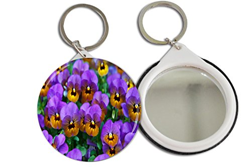 Rikki Knight Purple Pansies Design Mirror Button 2.25 inch Key Chain (set of 2)