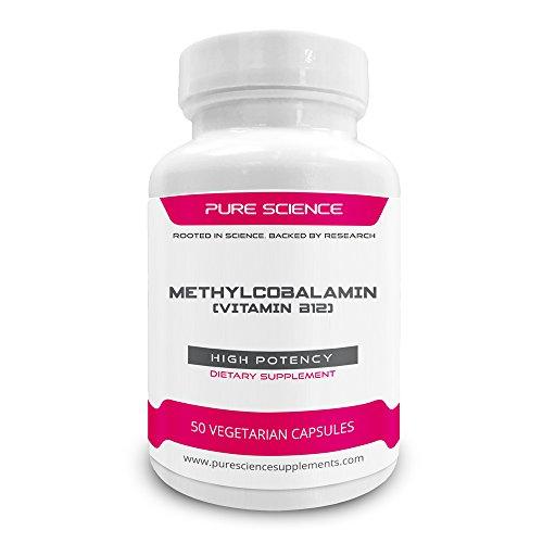 Pure Science Vitamin B12 Methylcobalamin 8000mcg - Vitamin B12 Supplements Improve Physical Energy, Support Brain & Nerve Health, Increases Antioxidant Levels - 50 Vitamin B12 Vegan Capsules