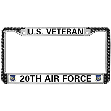 VETERAN US AIR FORCE Glossy Black License Plate Frame Screw Caps