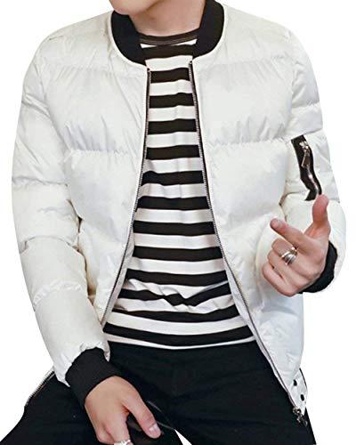 BoBoLily Chaqueta De Manga Larga Acolchada De Ocio Cálido De Los Hombres Cuello De Soporte De Manga Larga con Cremallera Chaqueta Exterior Prendas De Vestir Exteriores Blanco